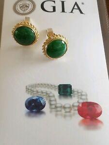 GIA Certified Estate Green Jadeite Jade Cufflinks, 14K Yellow Gold