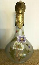 Ancienne aiguière émaillé en verre givré fleur de pavot Legras