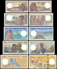 Comoros 500 - 10,000 (10000) Francs 5 Pieces(PCS)Full Set, 1980s, P-10-14, UNC