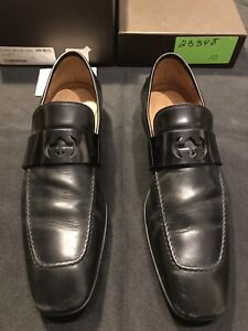 GUCCI BLACK LEATHER GG 233490 DRESS SLIP ON LOAFERS US SIZE 11 SHOES AUTHENTIC