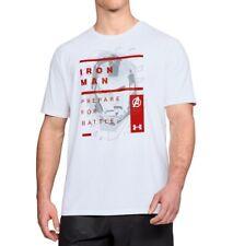 Mens Under Armour Iron Man Tony Stark Graphic Shirt 1324514 Large White Marvel