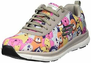 Skechers Womens Comfort Flex Low Top Lace Up Fashion, Grey/Multi/Doggy, Size
