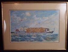 ancienne aquarelle et gouache navire bateau le ROGER ROUGIER
