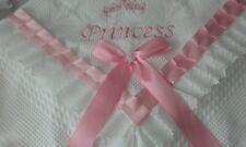 beautiful white/pink baby girls shawl **NEW**  PRINCESS can be personalised