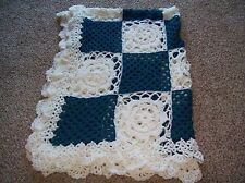 Pretty crochet Lacy Granny's Floral 57x63 afghan blanket teal+soft white