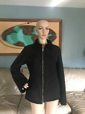Benetton Black Vegan Faux Suede Jacket Coat Fur Trim Made In Italy Woman's Sz M
