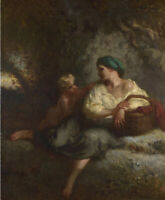 The Whisper Jean-Francois Millet Fine Art Print on Canvas Reproduction Small