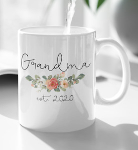 Grandma Grandpa Est 2021 Mug Pregnancy Announcement New Grandmother Grandfather