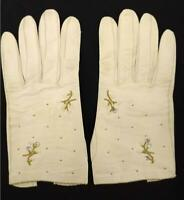 Vintage OBERON Beaded Gloves White Leather Size 6 3/4 Made in France AS-IS