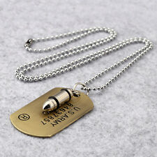 Mens Military Army Bu llet Charm Dog Tags SINGLE EMBOSSED Chain Pendant Necklace