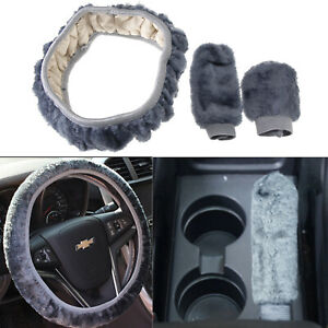 3Pcs Soft Warm Plush Wool Steering Wheel Cover Winter Fluffy Car Accessory Grey