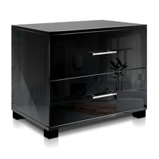 Bedside Table 2 Two Drawers Cabinet High Gloss Chest Lamp Side Nightstand Black