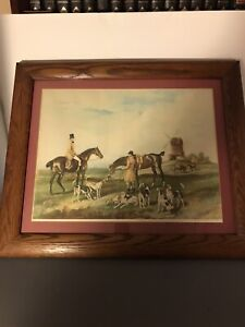 19th Century Hand Colored Lithograph Hunting Scene England Framed 24x20 Signed