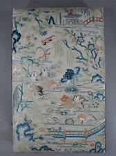 Nice Antique Chinese Embroidered Chinese Textile Panel On Jewelry Box Goldfish