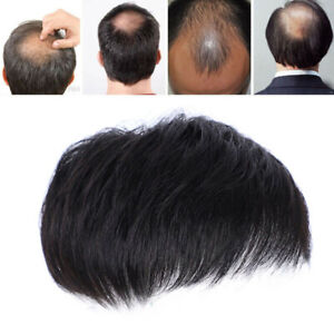 Men Black Natural Human Hair Topper Toupee Clip Hairpiece Top Wig Short Male Wig
