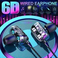 Sports 3.5mm Wired Earbuds 6D Stereo Hi-Fi Headphone Earphone For iPhone Samsung
