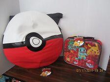 "Pokemon  Pokeball Backpack 16"" Large Book Bag & Lunch Bag 2 Piece  Set NEW"