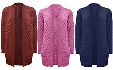 Women NEW Long Chunky Cable WAFFLE Knit Long Boyfriend Pocket Top Cardigan S-XXL