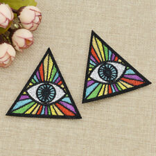 2pcs Rainbow Evil Eye Illuminati Embroidered Iron On Patch Clothes Bag Appliques