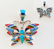 Wow Micro Multicolor Galaxy Moon Stars Opal Inlay .925 Silver Butterfly Pendant