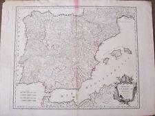 España.Robert Vaugondy.Mapa original 1750