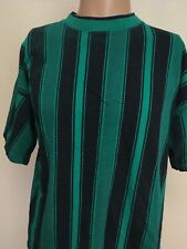 VTG 90s CHEROKEE SURF STRIPE KNIT T SHIRT Teal Navy Blue VERTICAL STRIPE XL SURF