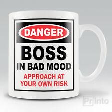 Funny novelty coffee mug cup - BOSS IN BAD MOOD gift birthday  + Free gift box