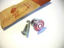 Vintage NOS CHROME KNOB RED Concentric Rings Drawer Pull Cabinet Handle ART DECO