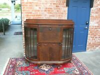 English Antique Mahogany Ball & Claw Side By Side  Drop Front Desk / Cabinet