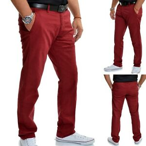 Burgundy Mens Casual Chino Trousers Regular Fit Rich Stretchy Cotton W31-W40 L32