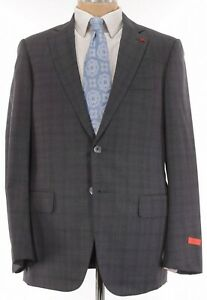 ISAIA NWT Suit Size 40R In Gray W/ Gray Plaid 130's Wool Base S Current $3,895