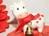 Miniature Cow Figurine Vintage George Good White Porcelain Valentines Day Gift