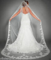 New Charming One Tier Bridal Cathedral Wedding Veil White/Ivory Custom Lace Edge