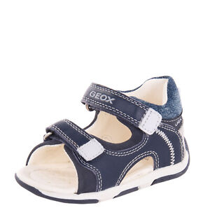 GEOX RESPIRA Leather Sandals Size 20 UK 3.5 US 4.5 Stitched Logo Hook & Loop