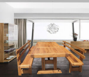 Luxury Handmade SOLID OAK Dining Table & Two Benches