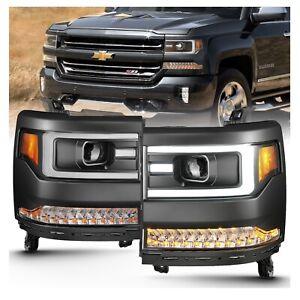 Anzo 111373 Black Plank Style Projector Headlights w/Amber for Silverado 1500