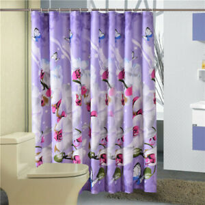 Bathroom Waterproof Polyester Shower Curtain Flower Pattern Bathroom Decor RE
