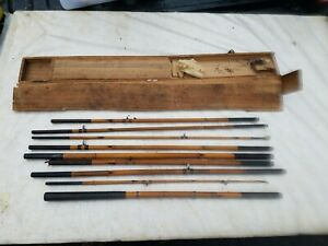Antique 9 Piece Bamboo Fly Fishing Rod Set W/ Damaged Wooden Case & Accessories