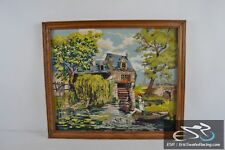 """House with Water Wheel, Fishing Wood Frame Cross Stitch Needlepoint 27x23"""""""