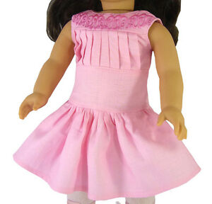 """Pretty Pink Embroidered Linen Dress fits 18"""" American Girl Samantha Victorian"""