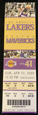 2005 Los Angeles Lakers vs Dallas Mavericks Full Ticket 4/17/05  Kobe 33 Points