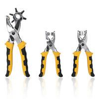 Hazlo tú mismo 3 × Cinturón de Cuero Perforadora Ojales Alicates Botón a Presión Kit De Herramienta De Ojal Montadora