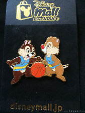 Japan Disney Mall CHIP & DALE PLAYING BASKETBALL Dribbling the Ball LE 200 Pin
