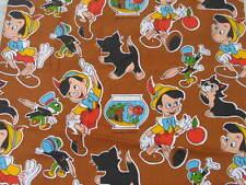 orig. alter vintage retro Stoff 70er Jahre Design  Pinocchio kleiner Druckfehler
