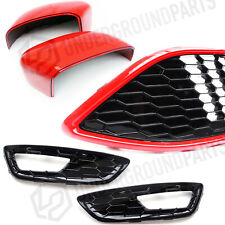 FORD FOCUS MK3 STLINE BLACK RED EDITION FRONT BUMPER GRILLES MIRROR COVERS CAPS