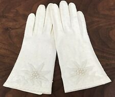 Vintage Women's White Beaded Gloves Size 6.5 Wrist Length 100% Cotton Ohrbach's