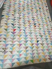 More details for huge vintage heirloom patchwork hand sewn bedspread throw cotton triangles heavy