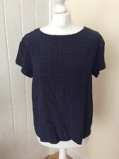 @Christian Dior@ Navy Fuschia 100% Silk Spotted Top Blouse Size 14 Exc. Cond.