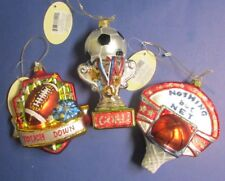"Lot of 3 Cypress Home 5.5"" Glass Basketball Soccer Football Holiday Ornament"