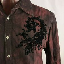 Eighty Eight Mens L Velvet Accents Button Down Shirt Maroon Black